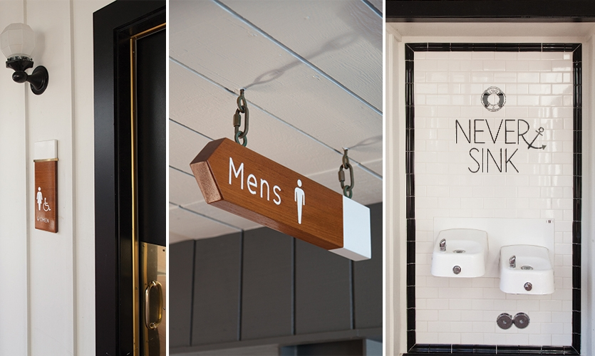 Every sign, down to the restroom signage and wayfinding, was treated with care to ensure the entire project felt cohesive.