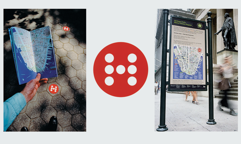 Trail guide, logo and trail kiosk signs for Heritage Trails NY, New York, NY (Chermayeff & Geismar)