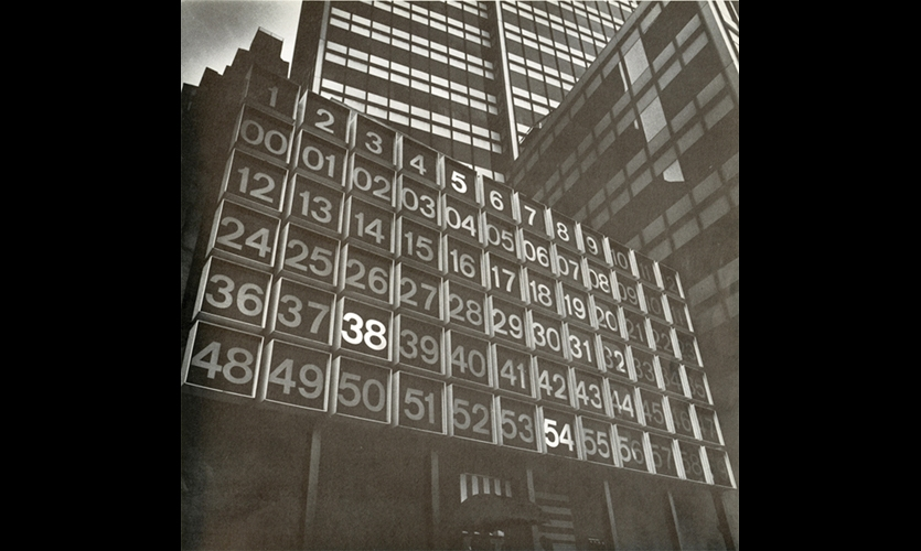127 John Street, New York (1968). One of the first high-rise projects to integrate neon and structured typography into the streetscape. Rudolph de Harak added warmth to the Modernist skyscraper and showed how graphics could animate the urban environment. (Photo: Poulin + Morris Inc.)