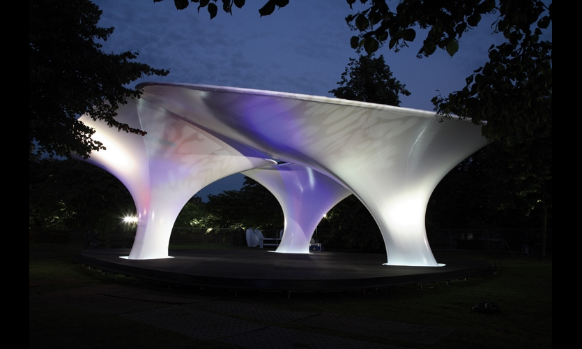 """Lilas"" parasol structures at the Serpentine Gallery, London, by Zaha Hadid and Patrik Schumacher"