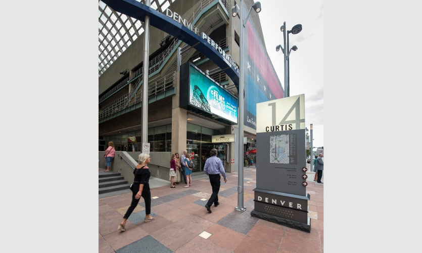 "The design team specified powerful, snow and water-resistant LED up-lighting in the base, which gives the wayfinding that signature ""beacon."""