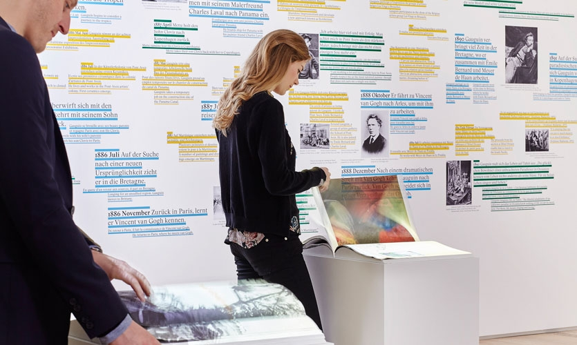 The interactive books formed the magical center of the multimedia room of the exhibition 'Paul Gauguin'.