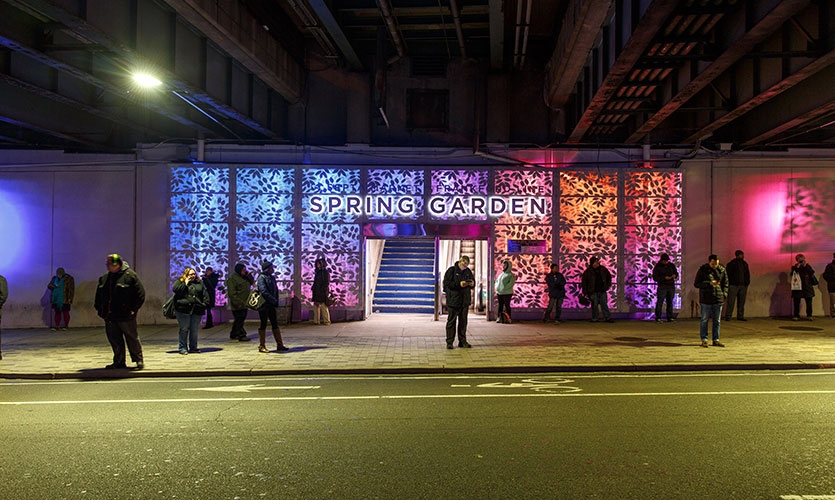 Chromatically, the clients wanted big energy for the opening, which coincided with the 2016 holiday season.