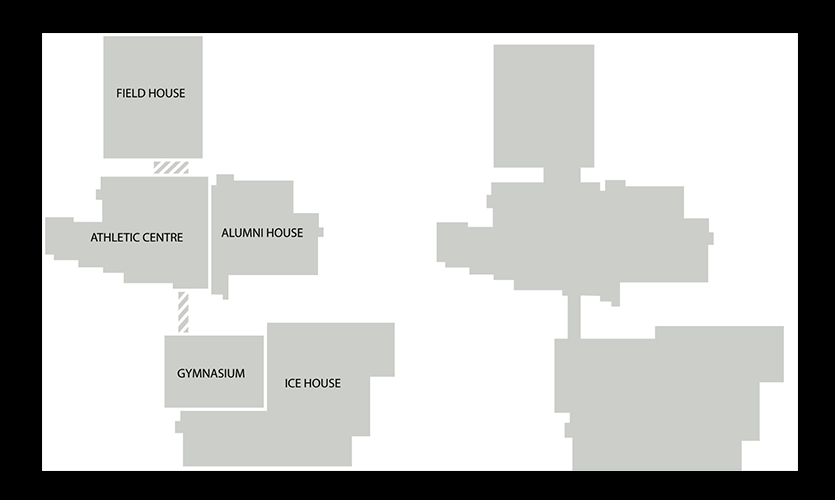 Figure 9. While Physical Recreation Centre is made up of five distinct buildings (left), the mental model created in the user's mind does not accurately reflect the user experience (right).