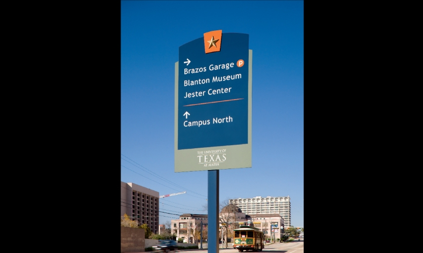 The first phase of signage for the University of Texas at Austin's new way finding program was installed near the university's new Blanton Museum of Art. Text on vehicular signs was limited to 2-4 messages.