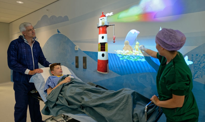Project animation in the pre operating to provide distraction for young patients before surgery