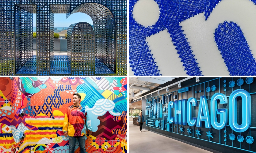 LinkedIn Offices (top, IA Interior Architects: San Francisco, 2016; Chicago, 2014) (bottom, Gensler: Mountain View, Calif., 2017; Chicago, 2018)