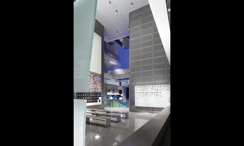 Designed like a chapel, the Journalists Memorial features a 13.5-ton, 34- by 36-ft. frosted-glass wall with the names of fallen journalists deeply sandblasted on the backs of the panels.