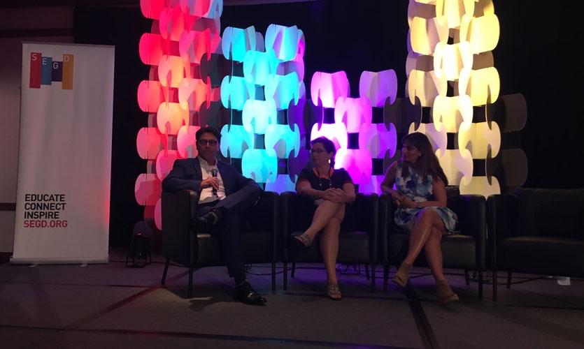 Stephen Minning (BrandCulture), Itati Moguilner (Massport) & Colleen Hamilton (Art of Context) talk technology innovation in wayfinding.