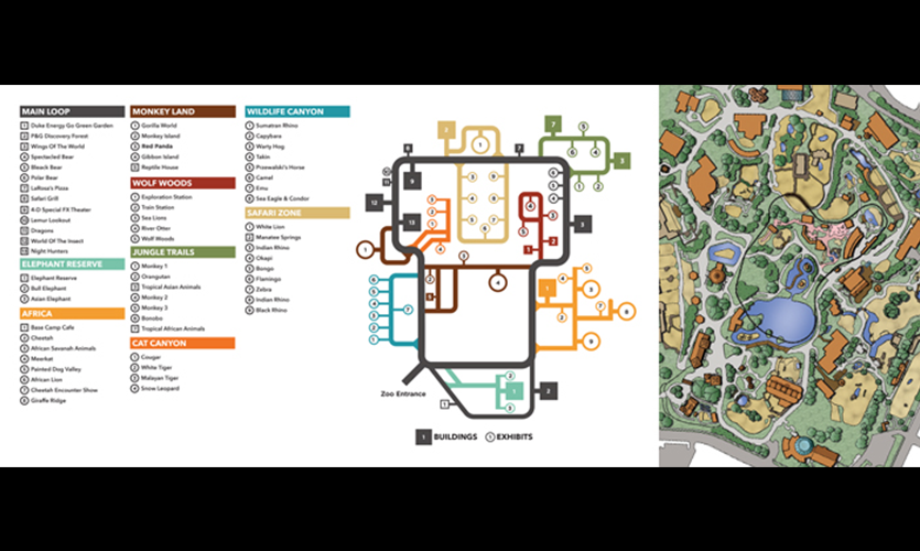 A reimagined map (left) of the Cincinnati Zoo and Botanical Garden's original version (right). Both maps are intended to work together to offer a more comprehensive understanding of space. Designs by Mike Pinciotti with Heather Kereluik, Amanda Rapien, Ki