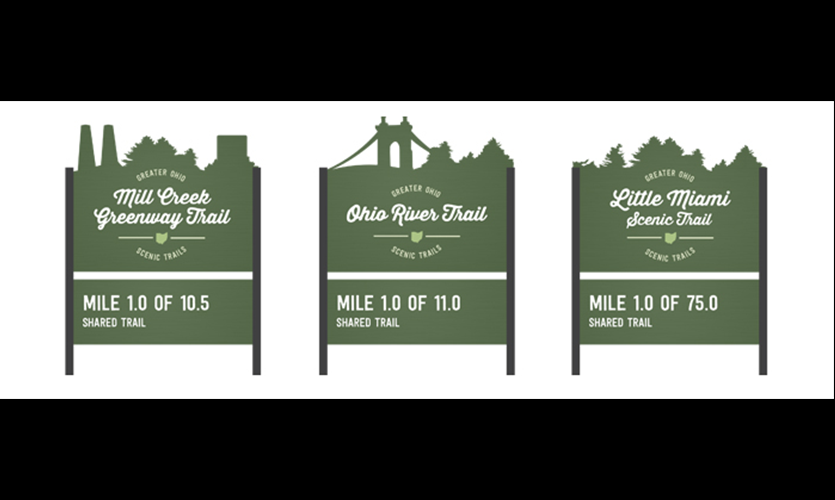 This variation on a theme illustrates the Greater Ohio Scenic Trail system; these three signs, representing different trails, both describe and differentiate each trail's experience through their die-cut top. Designs by Chi Thorsen and Aly Yorio.