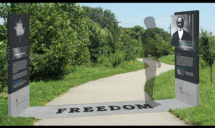 Historical site and grove markers that commemorate the path of slaves as they traveled up the Mill Creek to freedom. Designs by Katie Schirmann and Kelsey Hisek with Sarah Bielby, and Mike Pinciotti.