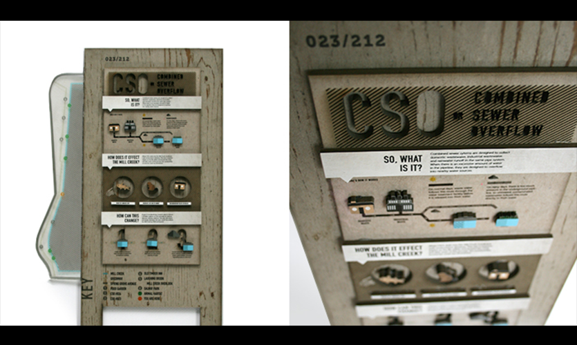 The Combined Sewer Overflow (CSO) program in Cincinnati allows raw sewer to flow into the Mill Creek during heavy rainfall. This sign system numbers CSO stations along the trail and educates patrons about its danger. The design is innovative and  performs