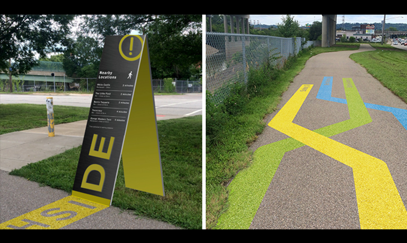 Located on the trail near the neighborhood of Northside, these safety signs (left) list local businesses in terms of walkable distances. They are strategically placed at trail junctures, can be seen from a distance, and illuminate at night. The visual sys