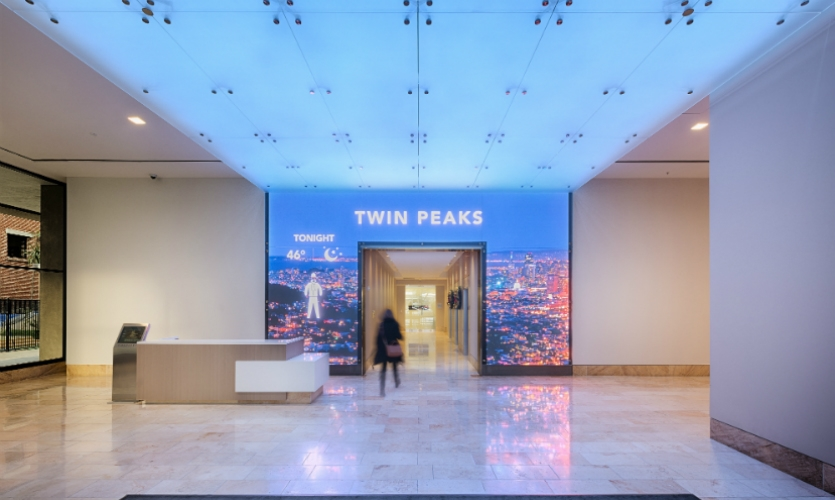 The lobby display consists of high-res, 5mm LED panels that display local and regional weather at a human scale.