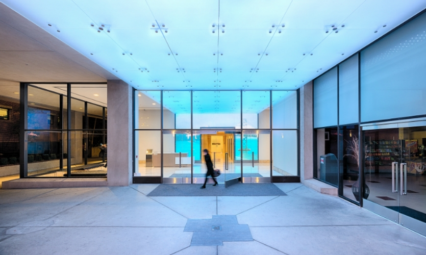 It leads visitors into the building lobby, where the experience continues.