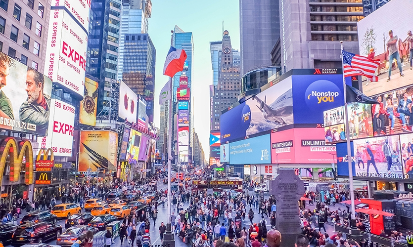 "Times Square in New York City is an example of a district; an area that ""the observer mentally enters ""inside of,"" and which are recognizable as having some common, identifying character."" –Kevin Lynch. Photo by Cris Tagupa on Unsplash."