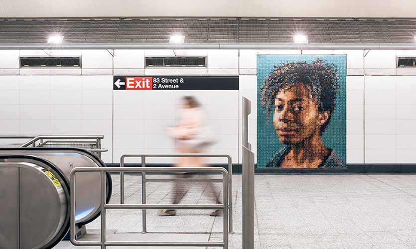 Arts in Transit was responsible for much of the placemaking work in the new stations, bringing in artists like Chuck Close, Sarah Sze, Vik Muniz and Jean Shin to craft sizable, spirited murals in tile.