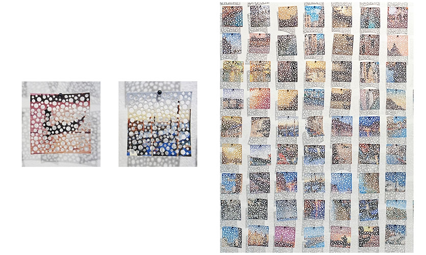 Installation detail – 847 unique views of Venice cut from commercial postcards (detail)