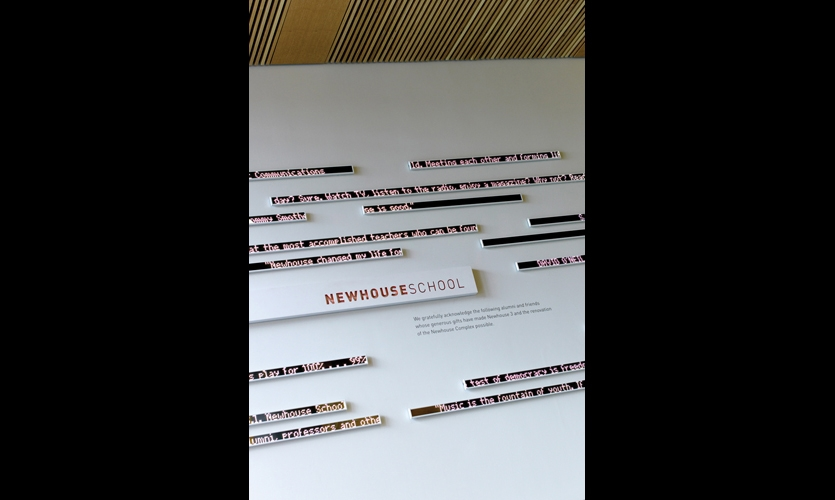 With the look of kinetic abstract art, the donor wall consists of more than 100 staggered 1-1/12-in. LED strips.