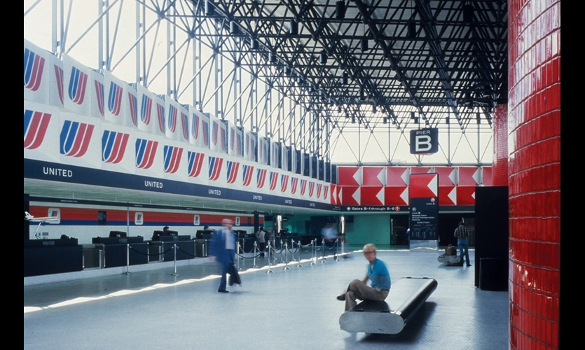 At Baltimore-Washington International Airport, Doggett used airport logos as unifying graphic elements in the terminal.