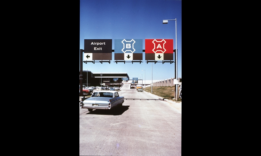 Doggett was the first to codify airport terminals by letter, and she added color and shapes to help guide travelers toward their airport destinations. Houston International Airport, pictured here, opened in 1971.