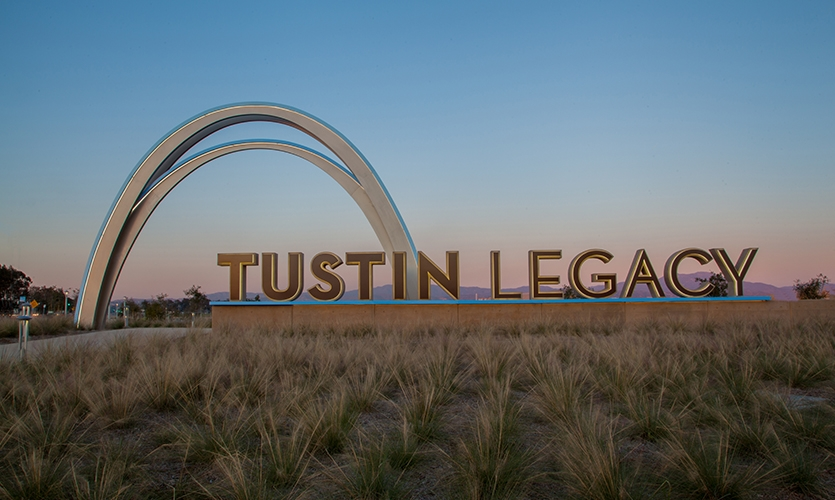 The Tustin Legacy archway (RSM Design) serves as a landmark for the city of Tustin, sitting at over 30′ high. Photo by Allison Richter Photography.