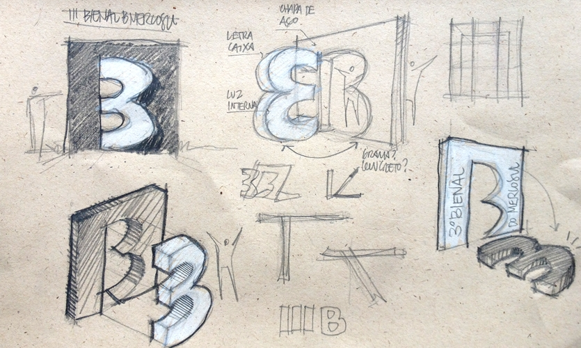 The 3rd Mercosur Biennial was due to take place in the city, so  I started to sketch and fool around with the number 3 and the letter B, which are formally very similar.