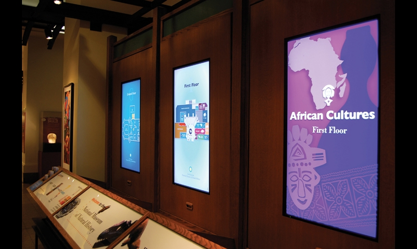 The Smithsonian National Museum of Natural History installed the first digital wayfinding system of its kind. The system was developed in response to demand for wayfinding information from the museum's 7.5 million annual visitors. Photos: Courtesy Launch Dynamic Media