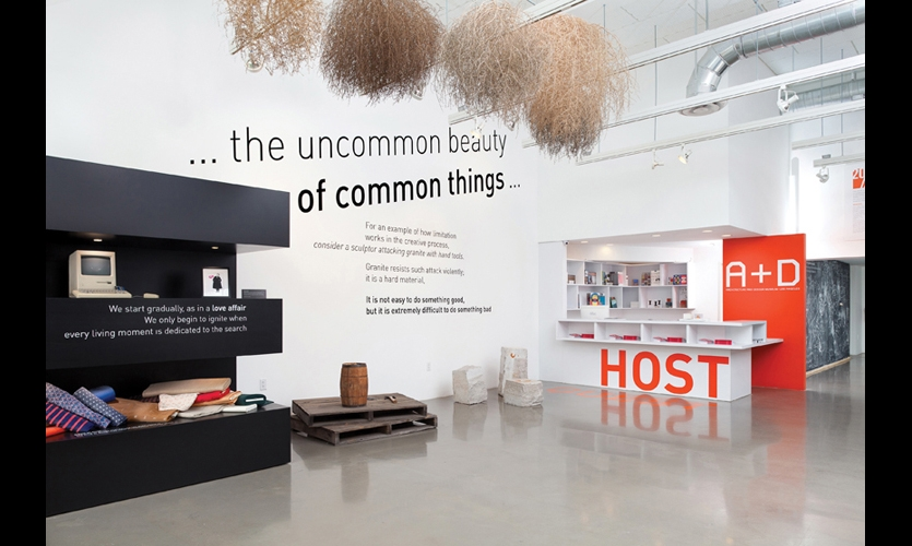 Quotes from the Eameses are the philosophical and typographical underpinning of the exhibit. Most appear in black-and-white vinyl, ranging from 72pt to larger than 720pt. (Photo: Clark Dugger)