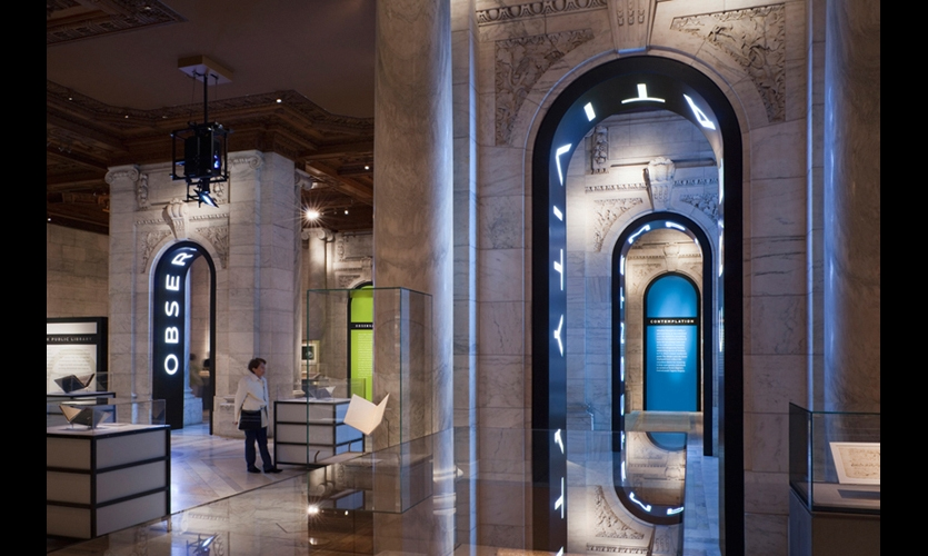 Exhibit content was divided into four sections that flowed into each other, encouraging visitors to make their own connections with the artifacts and architecture.