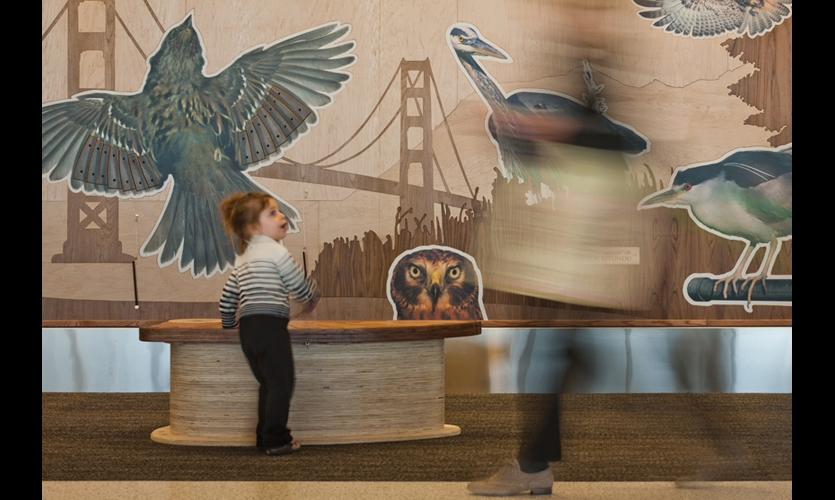 T2 features extensive public art installations. Walter Kitundes's wooden bench can be played like an instrument to recreate the calls of Bay Area birds—instilling an appreciation of area wildlife in keeping with San Francisco's zeitgeist around sustainability.