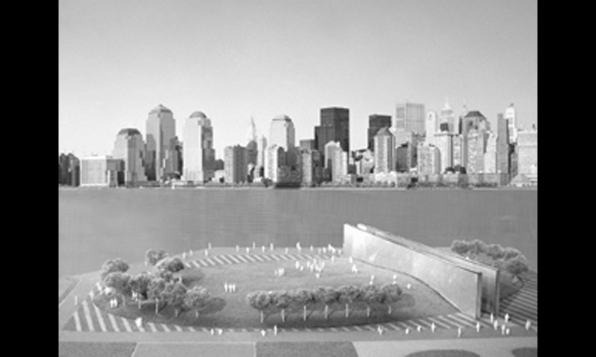 Schwartz's sketches used the site's orientation toward the twin towers as a starting point.