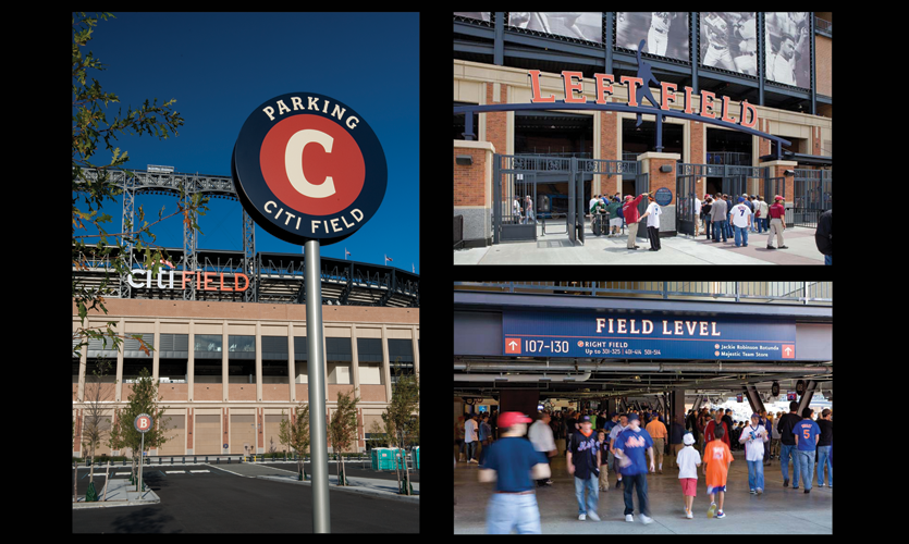 Parking, gate ID and directional signage at CitiField ball park, Queens, NY (Two Twelve)
