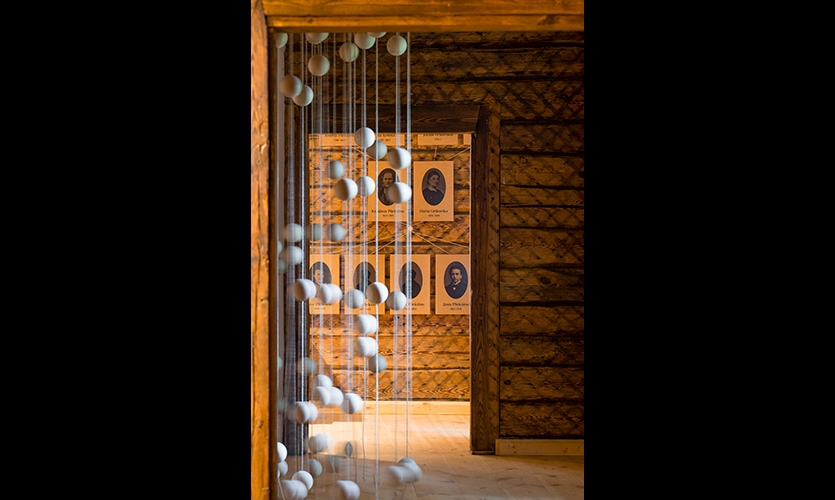 The wooden ball is a metaphor for the sun and also an initiator and maintainer of communication between the exhibition, visitor and young Rainis.
