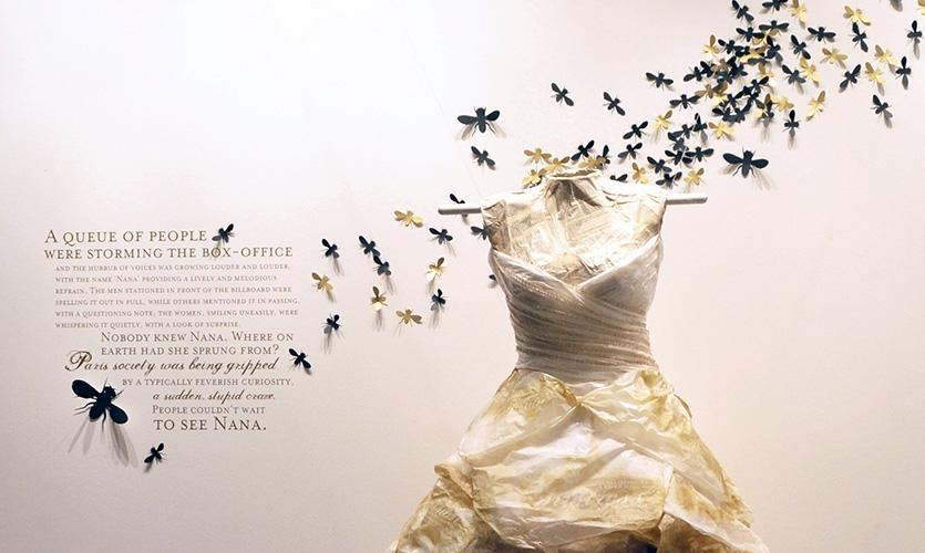 """Nana"" by Emile Zola, installed by Francsico Delgado, Jim DeVega and Maria Ramirez."