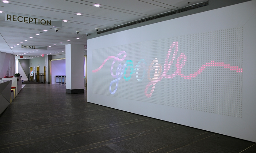"The ""buttonwall"" is a permanent installation for the public lobby of Google's New York office."