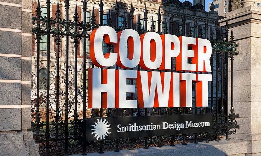 To accompany the renovation and expansion of the Cooper Hewitt, a vibrant signage and environmental graphics program was developed for the museum's exterior and interior.