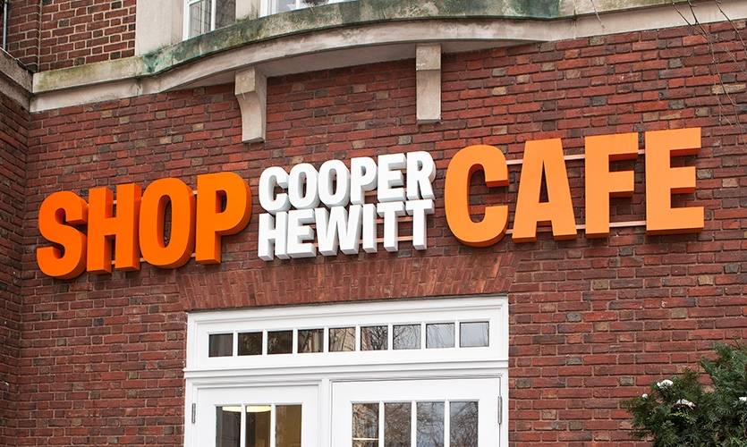 Exterior signage at the Shop Cooper Hewitt / Cooper Hewitt Cafe entrance.