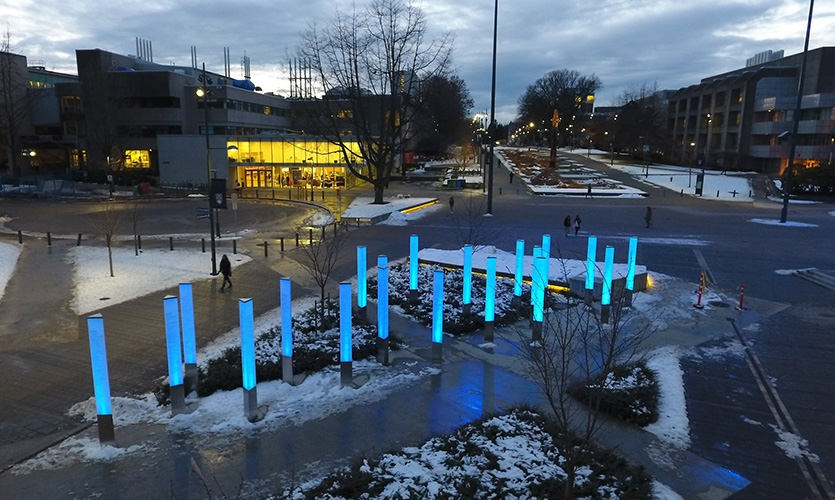 The installation successfully provides a placemaking anchor to the campus hub for pedestrians, cyclists and transit users and playfully brings to life the ripple-effect idea that underpinned the central fundraising campaign.