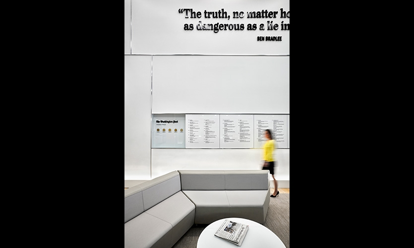 Pulitzer Prize winners are celebrated on the wall opposite the main conference room, with plenty of space to add future recipients.