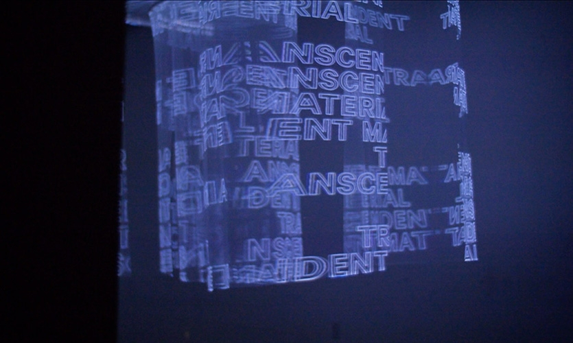 """Transcendent Material""uses projected typography to communicate the spirit of Donovan's works."