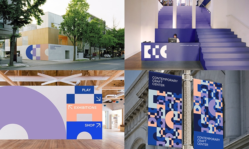 From using parts of the identity as large graphics, to pattern work and even to furniture, the identity remains consistent throughout.