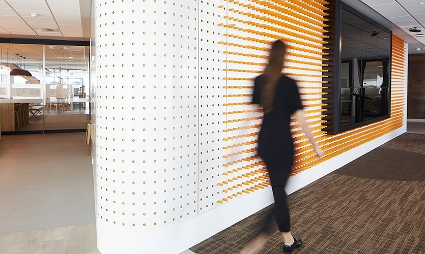 Drawing inspiration from the Rabobank Sydney Headquarters' core agricultural business, the design team at THERE developed a series of textural patterns that referenced the distinct graphic language of cartography and land-mapping.