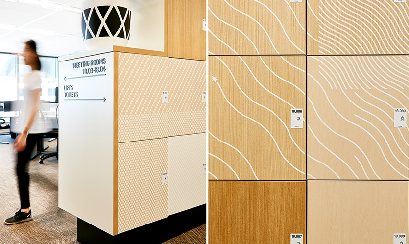 Graphics were applied to the elevator lobbies and locker banks, helping to activate otherwise forgotten operational spaces.
