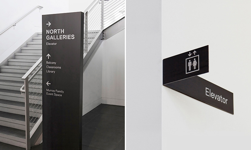 Tacoma Art Museum interior directional signage.