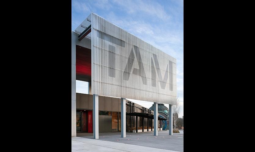 Tacoma Art Museum entry facade scrim.