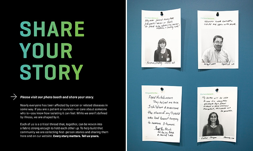 "The ""Share Your Story"" graphic wall panel with ""I'm here because"" response cards."