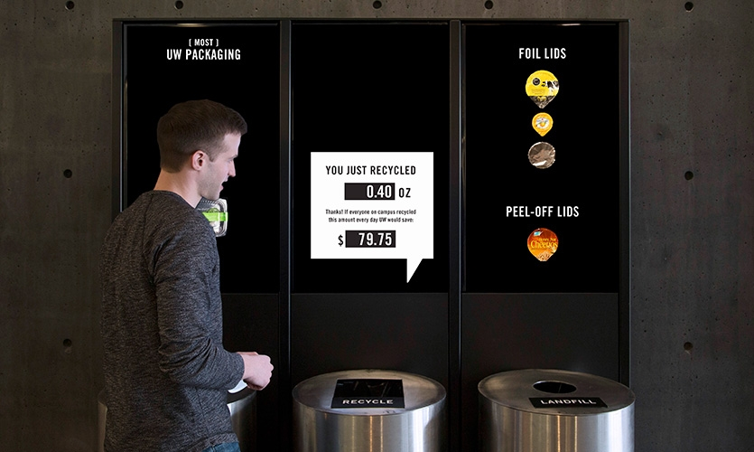 The user sees how much money could be saved if everyone at UW recycled or composted that same amount of trash. (UW pays $145/ton for landfill, $60/ton for compost, and $0/ton for recycling.)