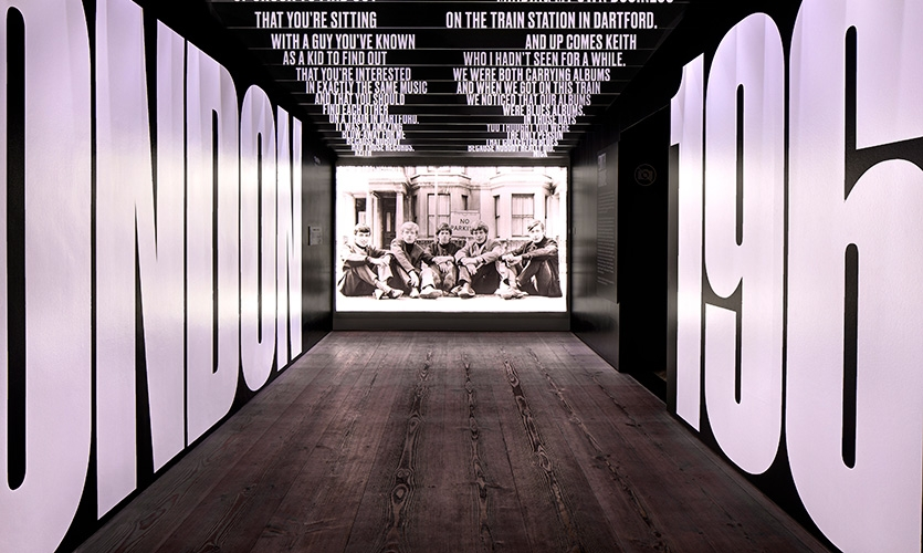 """The Edith Grove gallery at """"Exhibitionism"""" is dedicated to the origin of the Rolling Stones."""